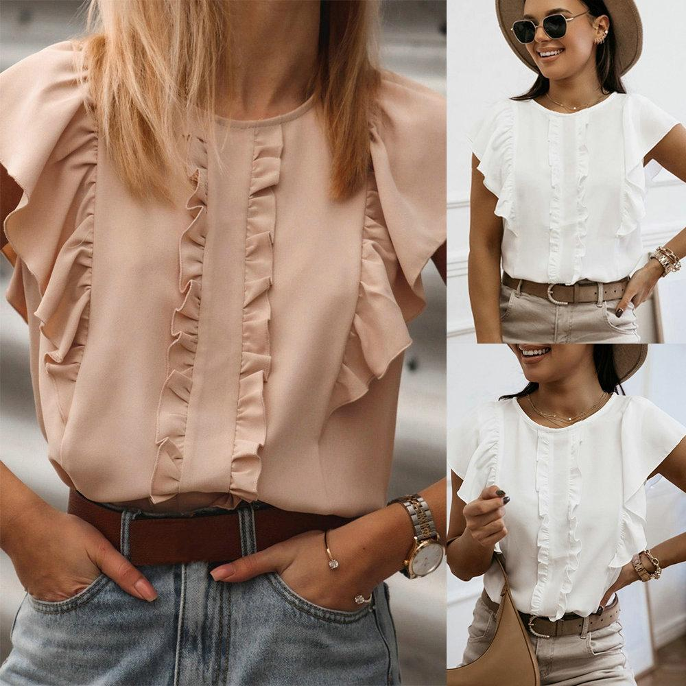 Cute Pink White Summer Women's backs Blouses Office Ladies Casual buttons Loose shirts O-neck Short Mouwen Trui Tops Sweets