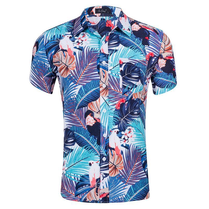 하와이 셔츠 남성 패션 인쇄 셔츠 면화 여름 남성용 짧은 소매 품질 브랜드 비치 캐주얼