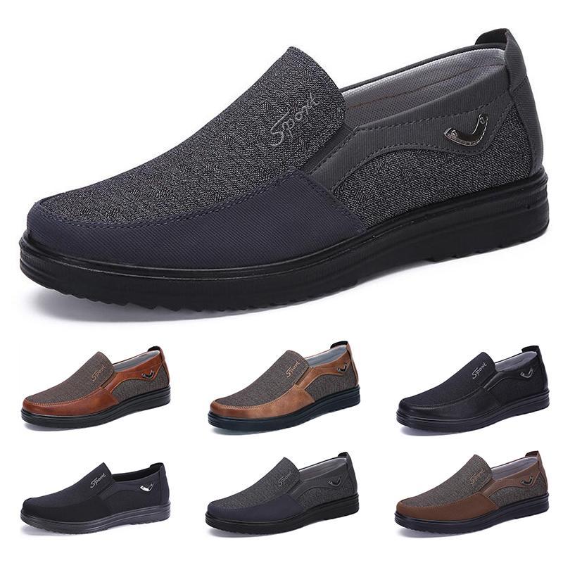 2021 Mode Designer Style de l'entreprise Chaussures Mens Hommes Brown Brown Loisirs Soft Appartements Soft Homme Robe occasionnelle pour la fête 38-44 huit