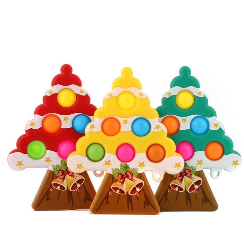 Tiktok Navidad Árbol Forma Llavero Sensor Fidget Pop Bubble Popper Push Popits Poo-Sus Poppers Estrés Alivio Bola Llavero Discomresión Juguetes G69GI3E