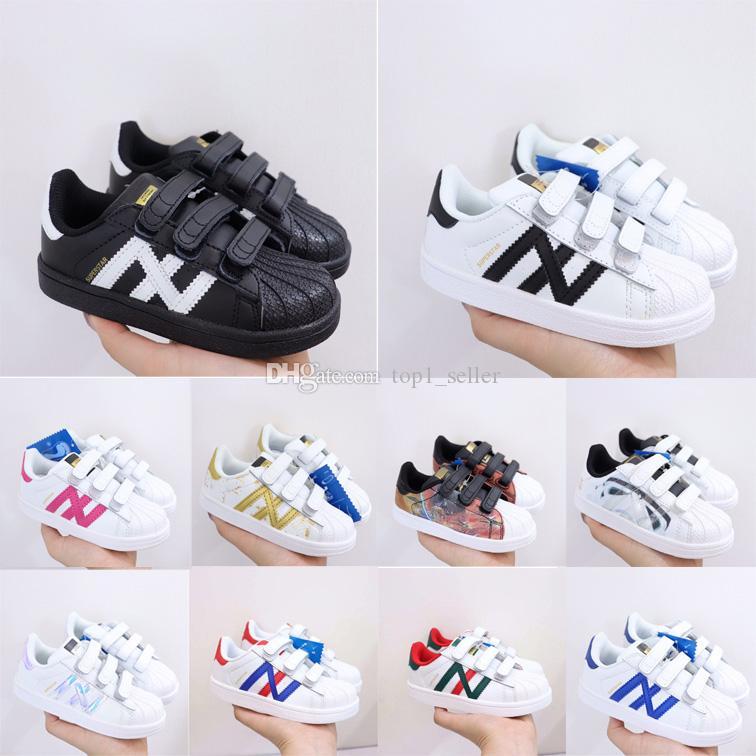 Yüksek kaliteli çocuk superstar klasikler açık koşu ayakkabıları erkek kız spor ayakkabı çocuklar kanca döngü sneaker gençlik koşu ayakkabısı
