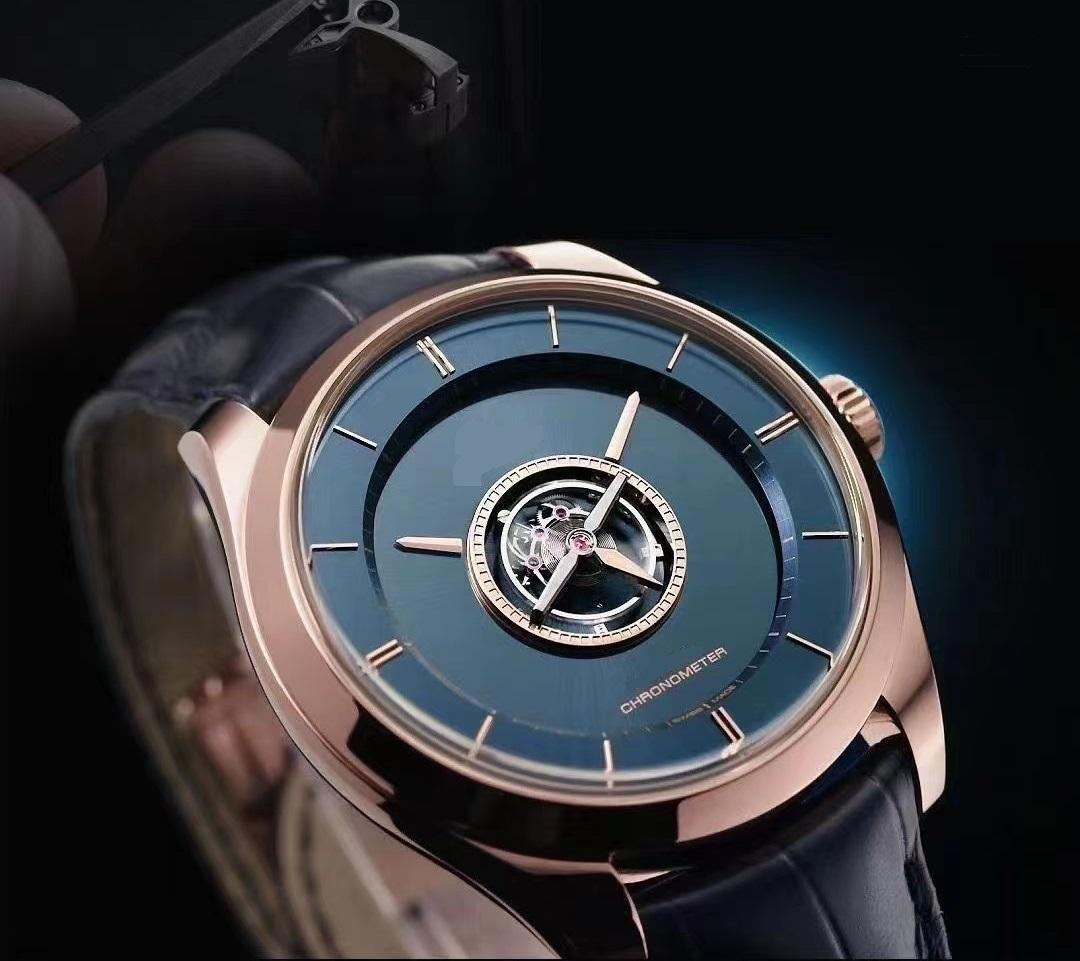 44 мм мужские часы Real Votate Tourbillon Средний Сапфир Кристалл Механическое движение Натуральный Кожаный Ремешок Водонепроницаемый Высочайшее качество Мужская наручная чашка