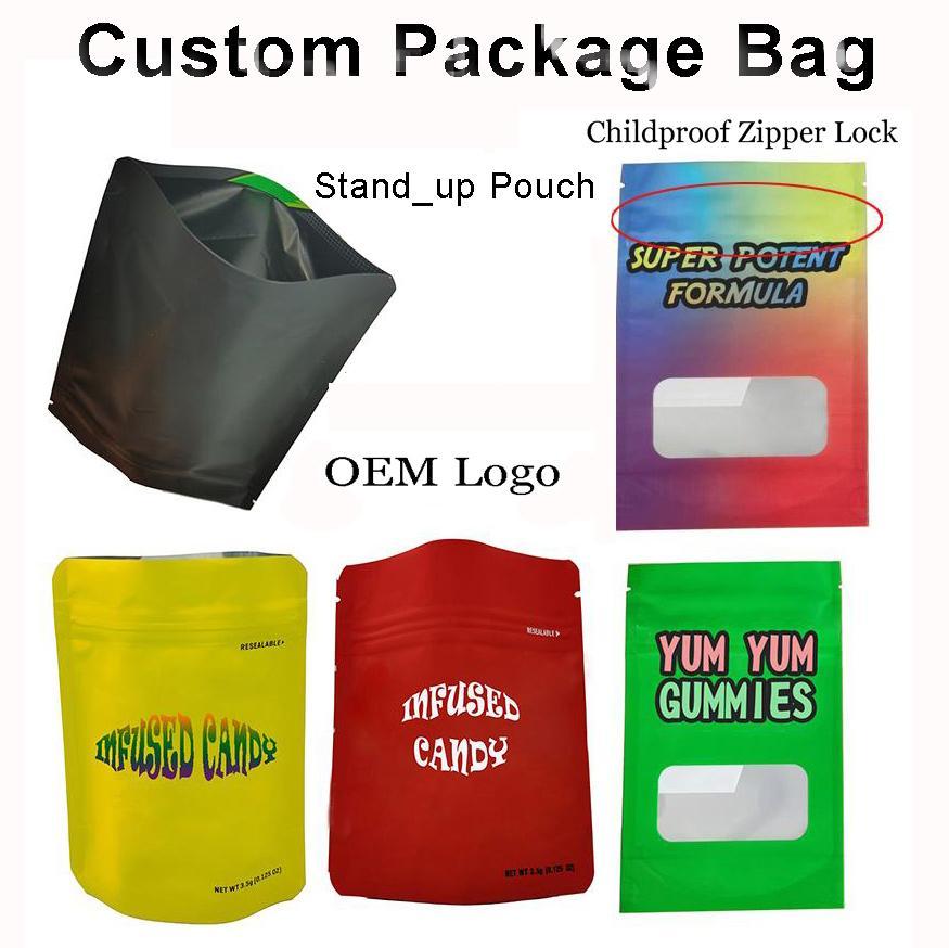 Borse del pacchetto di sigaretta e-sigaretta personalizzate Logo personalizzato Edibles Candy Bag Packaging vuoto 3.5G Biscotti infantili Antifondita Termina finitura OEM Mylar Zipper Custodia