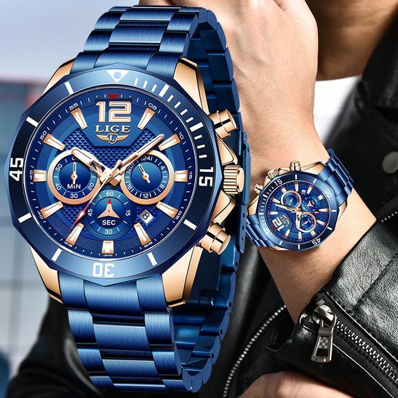 Relojes de lujo para hombres de lujo de la marca de moda azul de acero inoxidable reloj de acero inoxidable para hombre ocasional 50m cronógrafo impermeable relojes de pulsera