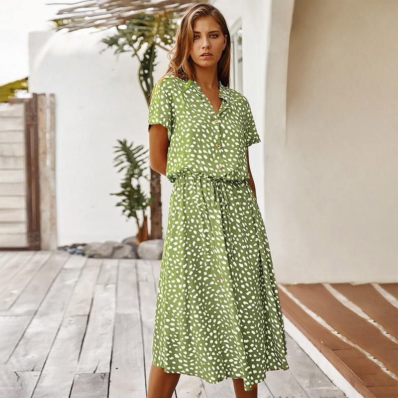 عارضة فساتين السيدات البوهيمي ليوبارد طباعة قميص اللباس المرأة ميدي عطلة الصيف الإناث ألف خط فضفاض شاطئ vestidos