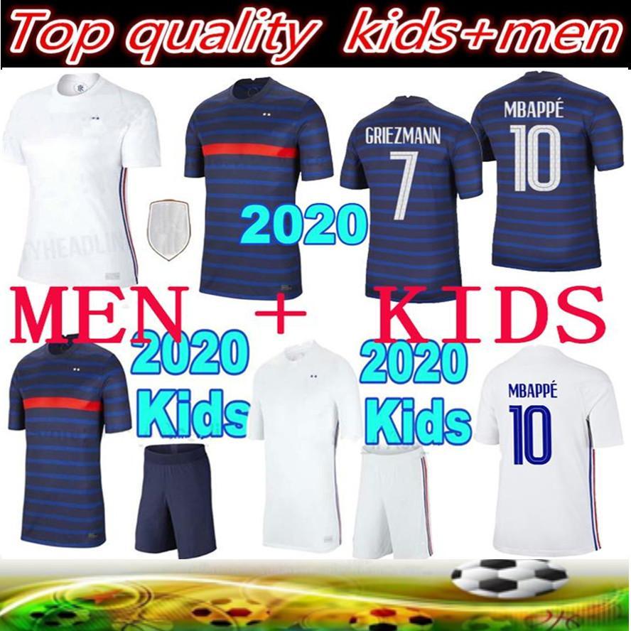 2020 França Mbappe Griezmann Pogba Jerseys 2021 Futebol Jersey Camisas de futebol Maillot de Foot Men + Kids Kit