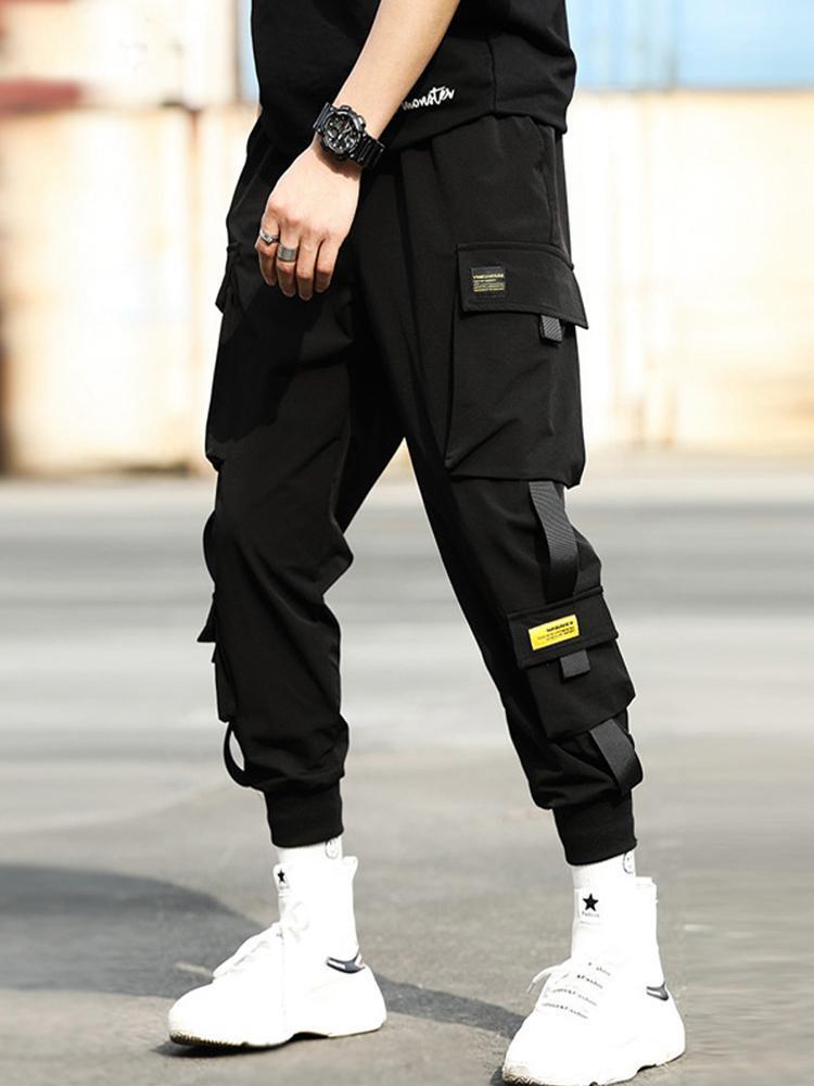 슬림 코튼 캐주얼 바지 남자 운동복 빈티지 미학 패션 어두운 일 Pantaloni Mens 옷 DH50XX 남자