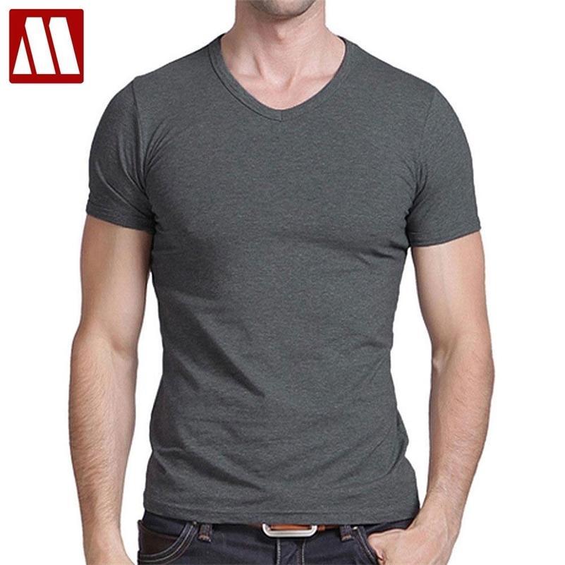 T Gömlek erkek Gündelik Kısa Kollu V Yaka T-Shirt Katı Yaz Pamuk Siyah / Gri / Yeşil MyDBSH 210319