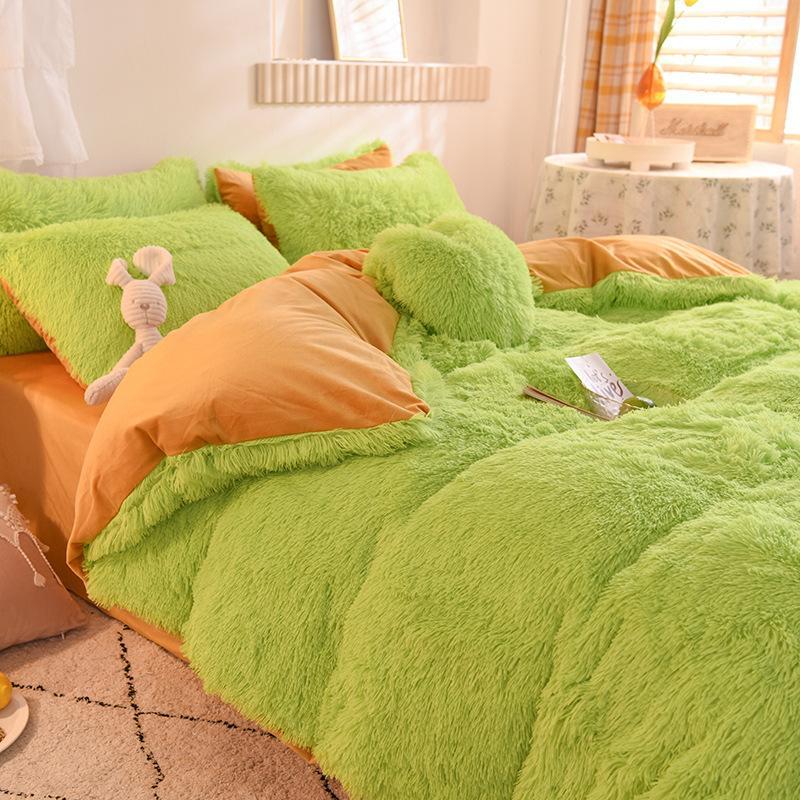 Weiche vierteilige warme Plüsch Bettwäsche-Sets König König Queen-Size-Luxus-Quilt-Cover-Kissenbezug Duvet-Markenbett-Bettdecken Liefert Chic 714 v2