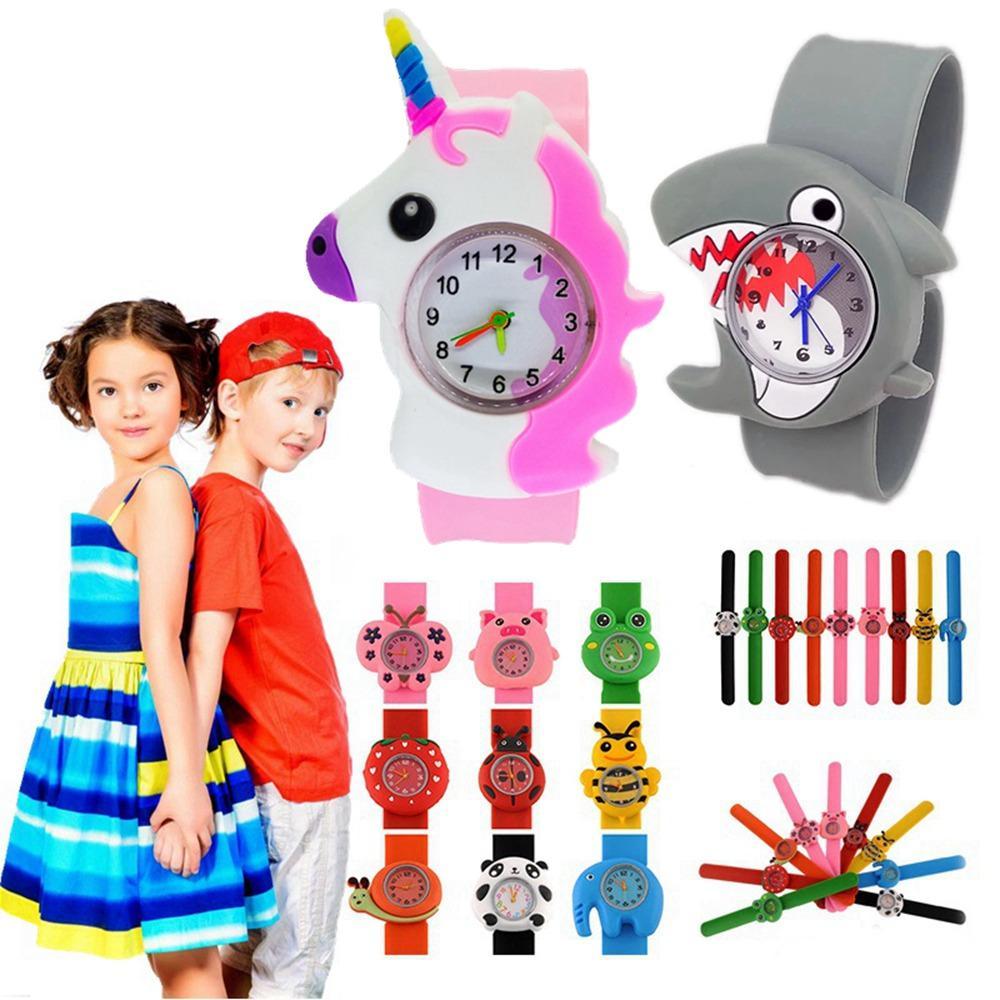 100 stücke Großhandel Mode Cartoon Tiere Uhren Kinder Kinder Jungen Mädchen Student Silikon Slap Quarz Trend Party Geschenke Armbanduhr
