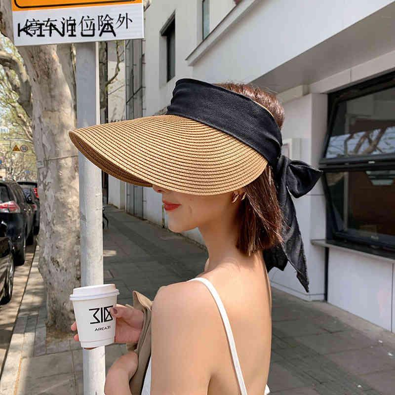 الصيف الشمس القبعات النساء أزياء فتاة الشريط القوس شاطئ عارضة القش فارغة أعلى بنما العظام feminino harajuku قبعة 210323