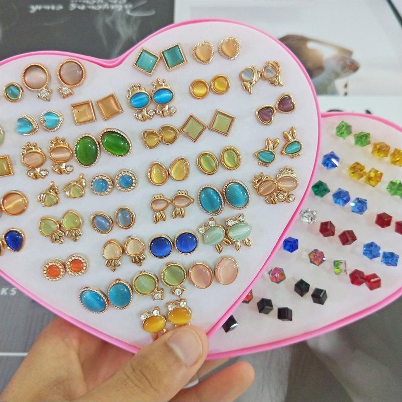 36 أزواج الأزياء الكورية أنماط لطيف catseye الكريستال الأبجدية عشيق مع القلب مجوهرات مربع النساء الفتيات الفضة الذهب أقراط زوج مختلط زوج