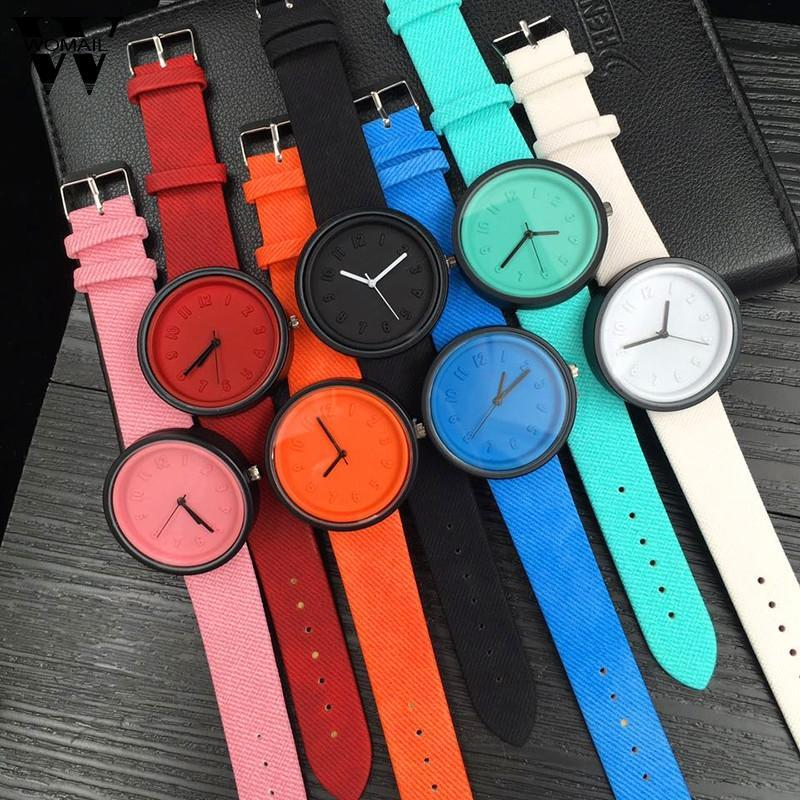 Armbanduhren 2021 Frauenuhr Unisex Armband Einfache stilvolle digitale Quarz Leinwand Gürtel Armbanduhr Kleid Luxus