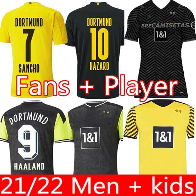 팬 선수 버전 축구 유니폼 20 21 4 4 번째 2021 축구 셔츠 1990 년대 Haaland Reus Neongelb Sancho Hummels 남자 키트 마일 로트 드 발