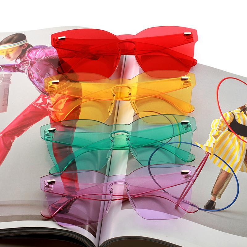 Trends Products Rectangle Quay Sunglasses Women Orange Transparent Big Frameless Sunmmer Glasses Feminino