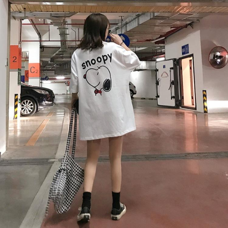 Snoopy bonito verão cão impressão solta nova manga curta t-shirt moda casual top