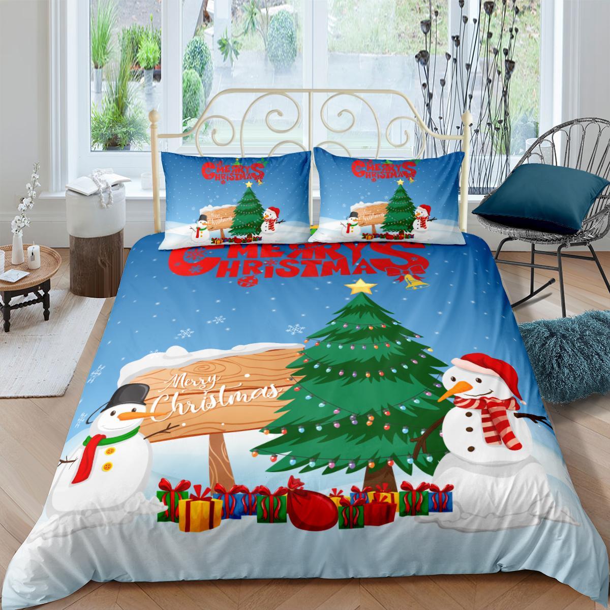 Yatak takımları Noel nevresim yastık kılıfı ile tek ikiz çift tam kraliçe kral boyutu