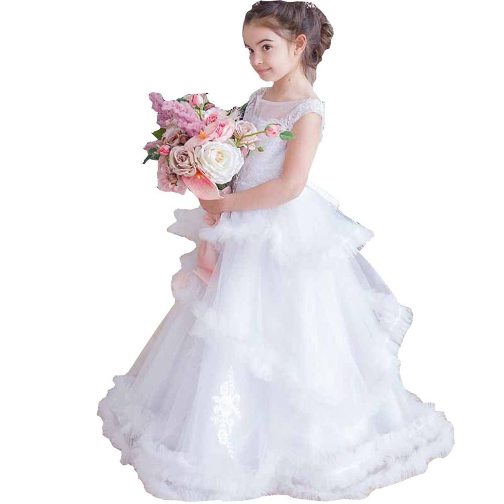 2022ロマンチックな3層フラワーガールドレスパーティー幼児レースクリスタルショートキャップスリーブボートネックの結婚式のゲストドレスリトルガール