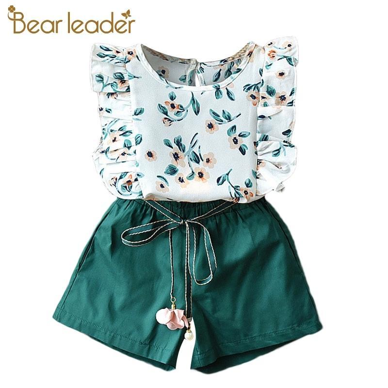 Garotas de líder de urso Sets New Summer Floral Crianças Sem Mangas T-shirt Sólida Shorts 2 Pcs Crianças Terno Moda 3-7t Crianças Roupas 210322