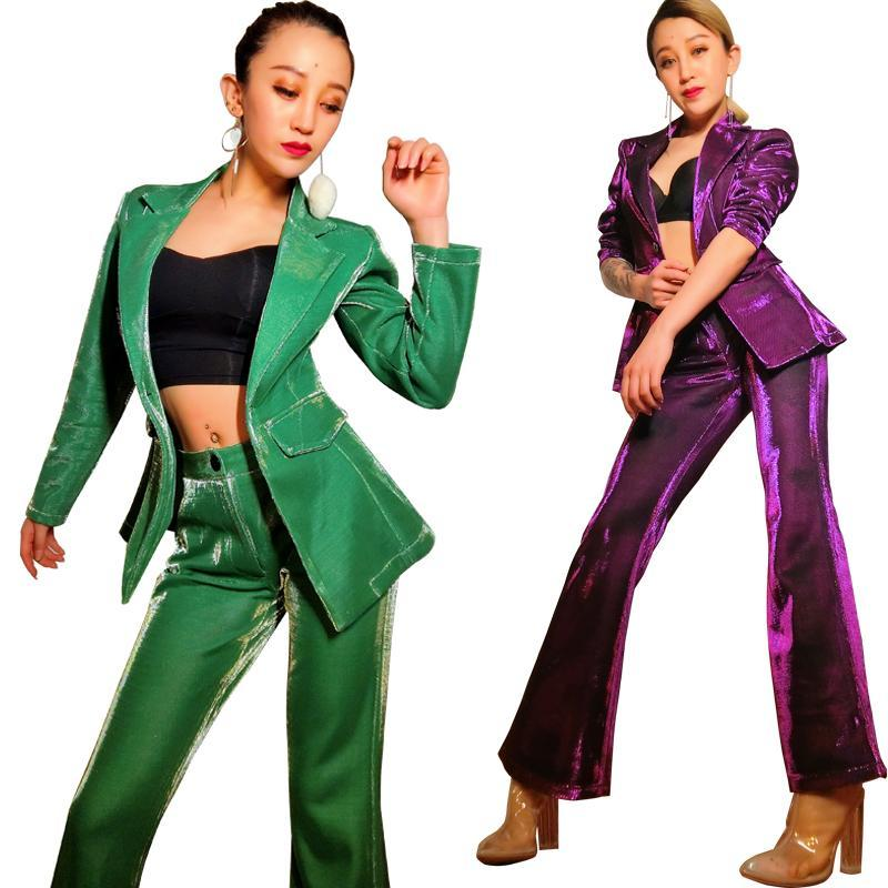 Women's Suits & Blazers Cool Costumes Stage Clothing Bar Nightclub Dj Female Singer Jazz Dance Clothes Hosted Color Suit Two Sets