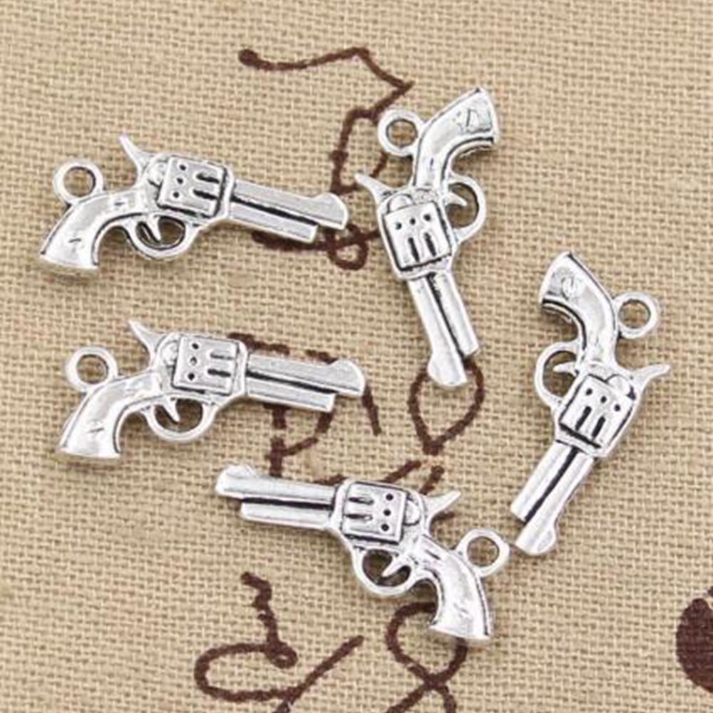 100 pcs pistola arma encantos 22x12mm para fazer pingentes antigos, cor de prata tibetana vintage, jóias de artesanato DIY