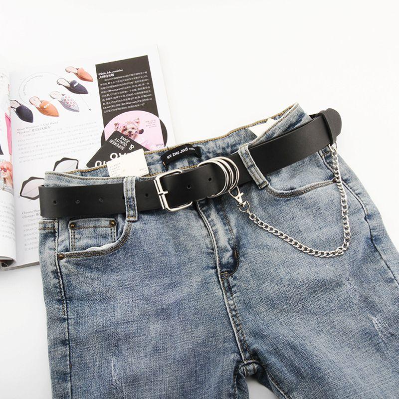 Cinturones de diseño para mujeres Soft PU cuero cintura corsé correa punk gótico cummerbunds jeans cinturon mujer cadena riem