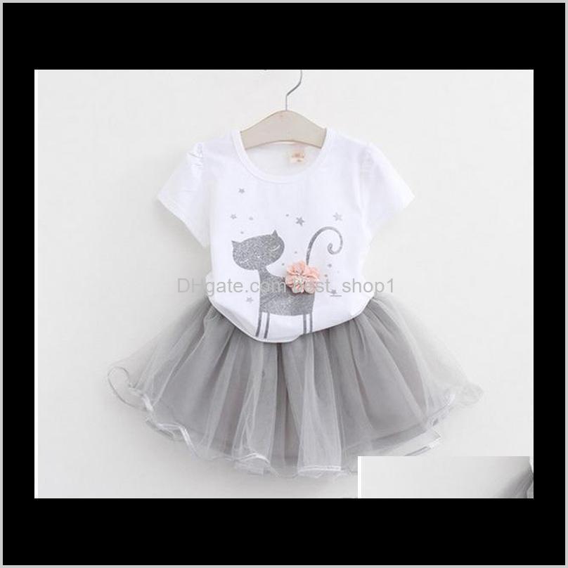 Crianças meninas moda verão manga curta desenhos animados tshirt saia de gaze princesa vestido 2 pcssets top qualidade zbqqf conjuntos de roupas i9c5n
