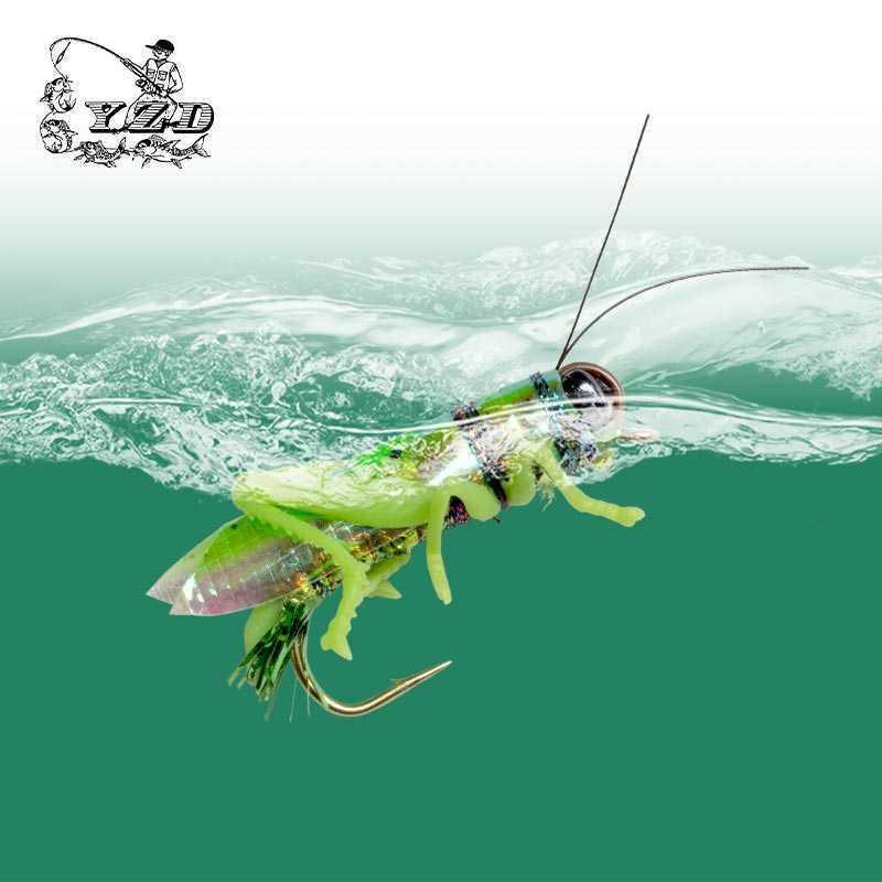 Yazhida يطير الصيد الطعوم الجندب الذباب 12 قطع 270 ملليمتر العائمة المياه بايك تروت الكارب باس إغراء YZD-F12 الحشرات الاصطناعية السحر 210622