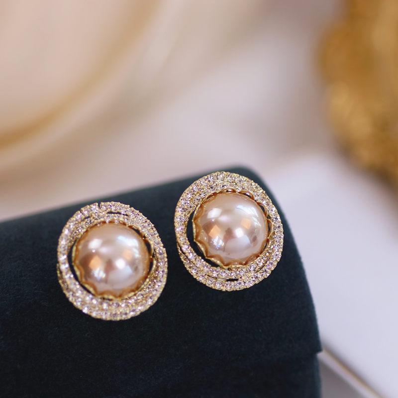Lüks Parlak Kristal Rhinestone Saplama Küpe Kadınlar Için Moda Büyük İmitasyon İnci Gelin Düğün Takı Hediyeler