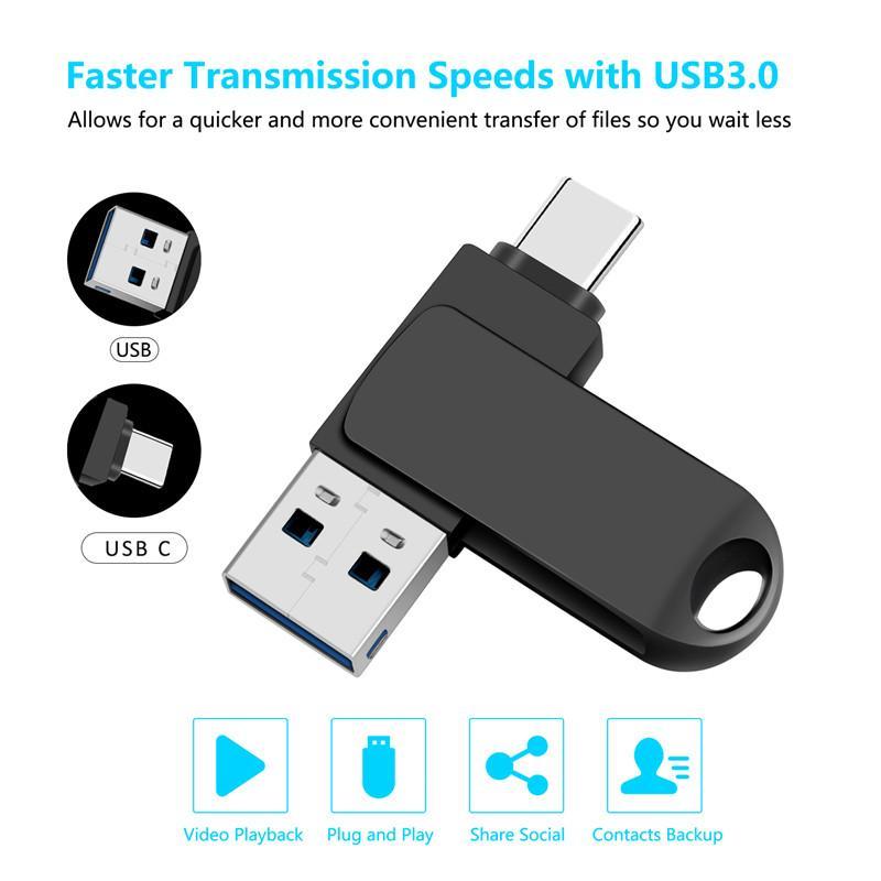 Drive flash USB da 16 GB 32 GB 64 GB 128 GB 2 in 1 Stick Memory Stick per smartphone con USB3.0 e Type-C Ports 360 ° Cassa in lega di zinco rotante a 360 °