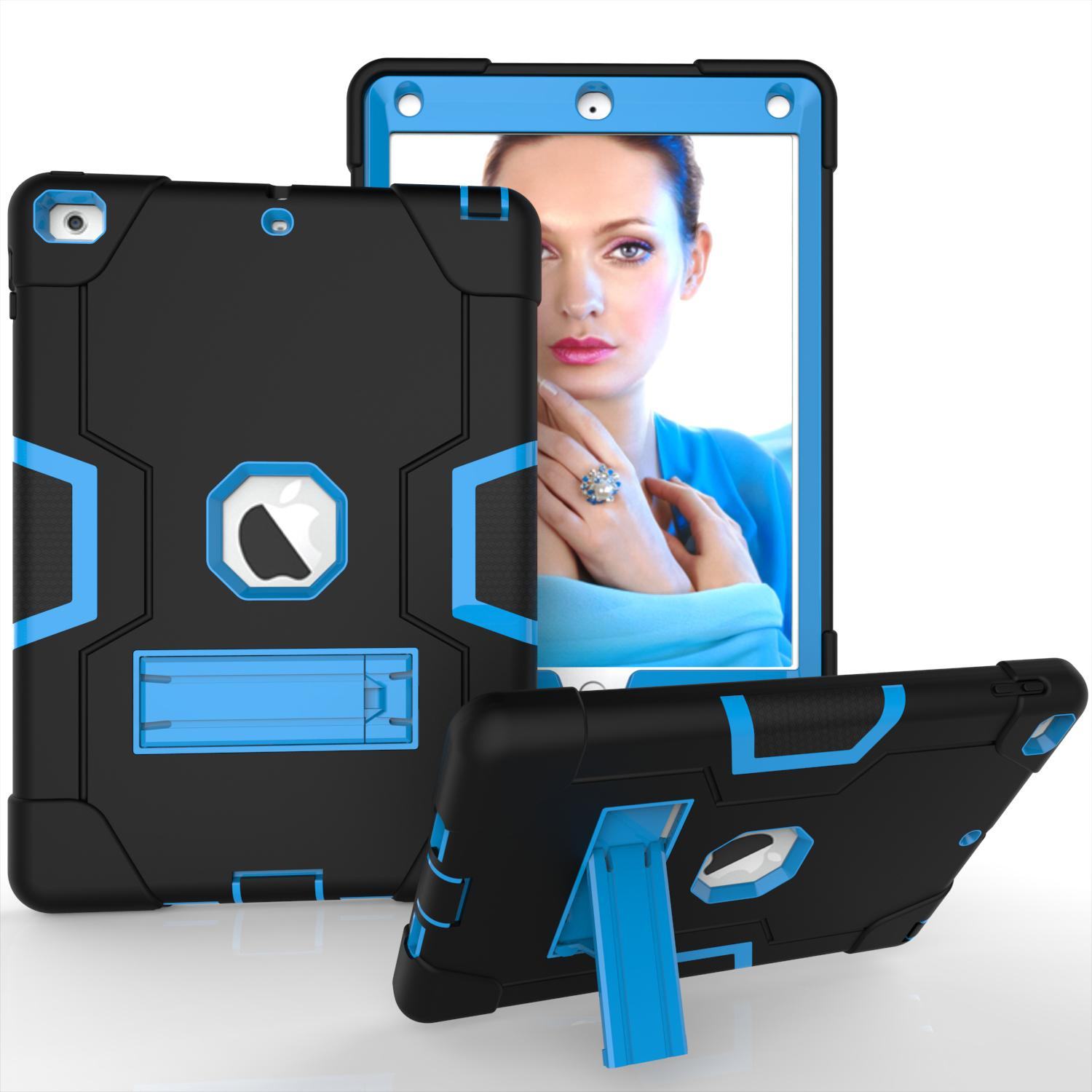 3 in 1 Silicon PC Full Body Case Shockproof Hybrid Robot Heavy Duty Kids Safe Rugged Cover Kickstand For Apple iPad Mini 2 5 Pro Air 4 Air4 10.9 11 2021 7 8 10.2 10.5 9.7