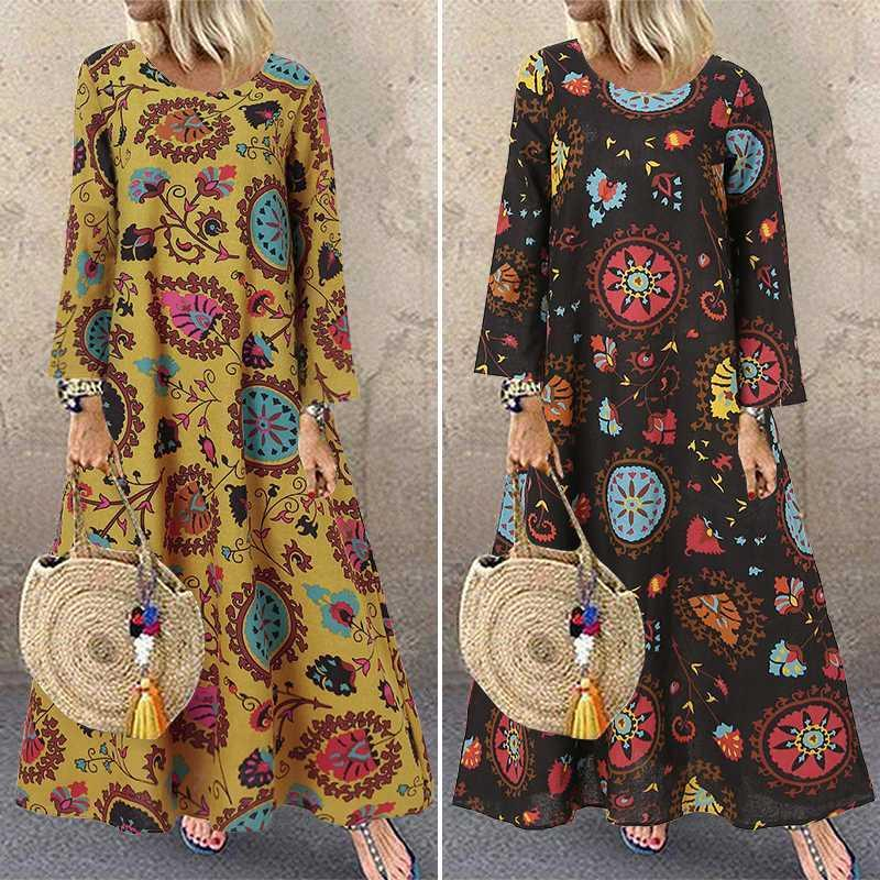 Casual Dresses Vintage Printed Maxi Dress Women's Spring Sundress ZANZEA 2021 Long Sleeve Vestidos Female Floral Robe Femme 7