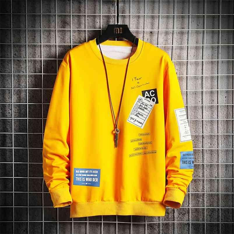 Automne Hommes Sweat à capuche Chemise à manches longues Sweat-shirt Hip Hop Sweatwear Streetwear Men Chute Pull-Côte O-Cou Taille 210728