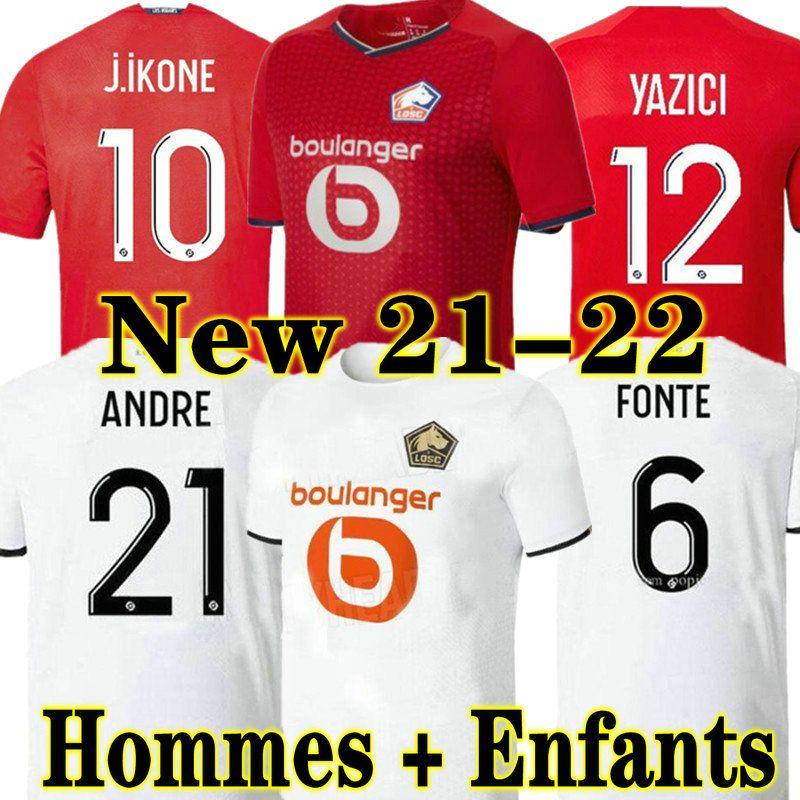 Losc Lille 21 22 كرة القدم الفانيلة ديفيد فونت بامبا يازيكي لكرة القدم قميص 2021 2022 أولمبيك جيكون 10 مايلوت الكبار الاطفال كيت