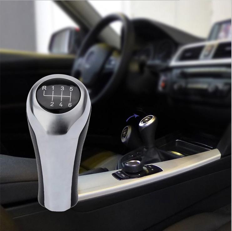 Gear Shift Knob For BMW 1 3 5 6 Series E46 E53 E60 E61 E63 E65 E81 E82 E83 E87 E90 E91 E92 X1 X3 X5 M silver Carbon