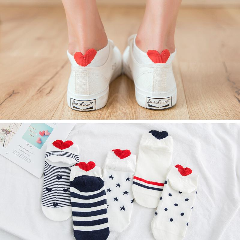 5Pairs New Arrivl Mujeres Calcetines de algodón Pink lindo gato Tobillo Calcetines Cortas Casual Animal Oreja Red Heart Gril 35-40