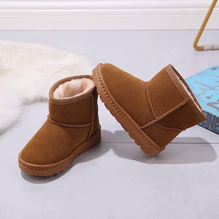 Boots Kids Snow Unisex Children's Shoes Winter Toddler Boys Thick Plush Solid Girls Warm Student