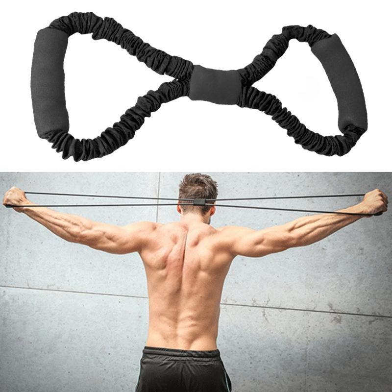 Unisex Fitness Yoga Gym Widerstand 8 Word Brust Expander Gummischlauch Pull Seil Trainingsmuskeln Elastische Bänder für Körperbaustreifen