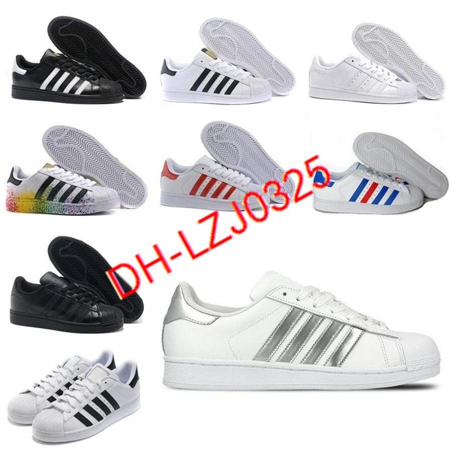 2021 ORIGINALES BOOTS SUPERSTRATERES Blanco Rojo Oro estrellas Pride Sneakers Supers Star Lady Men Sport Casual Shoes 36-44 K2115 DX151