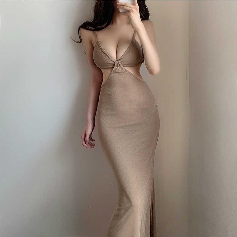 Womengaga Sexy Europe Mode Niedrige Brust Hohl Urlaub Strand Backless Temperament Elegante Tank Weste Kleid Kleider QE89 210603