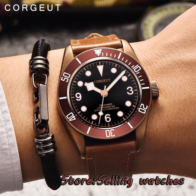41mm CorGuet Kahve Steril Kadran Durumda Safir Cam Miyota Otomatik Erkek İzle Saatı