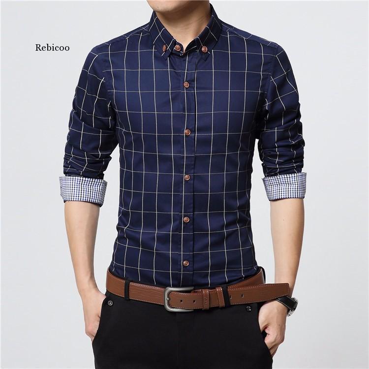 남성용 격자 무늬 코튼 드레스 셔츠 남성 고품질 긴 소매 슬림 맞는 비즈니스 캐주얼 셔츠 플러스 5XL