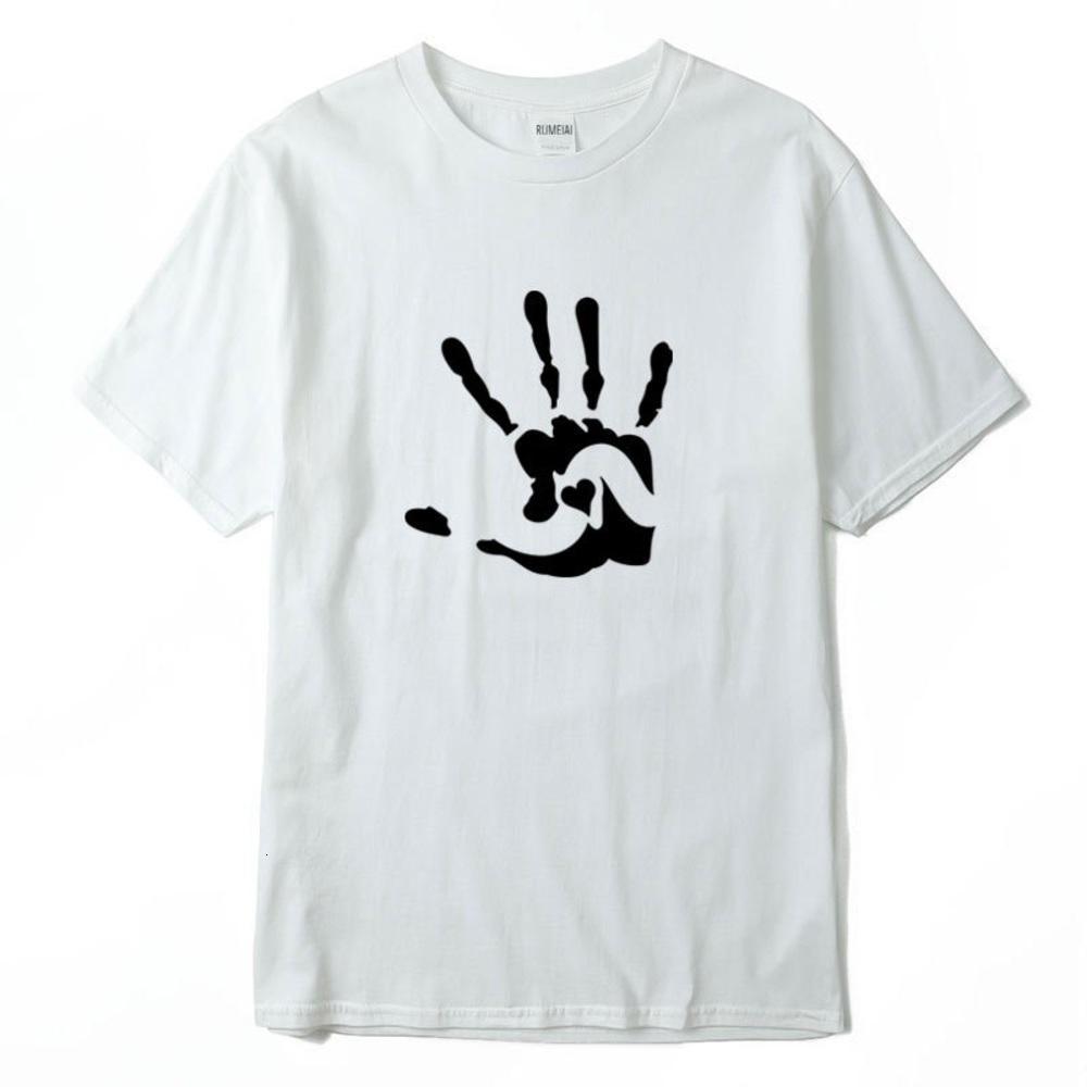 Corazón de mano impreso para hombre diseñador casual tshirts verano masculino femenino con cuello corto manga corta camisetas camisetas de fondo