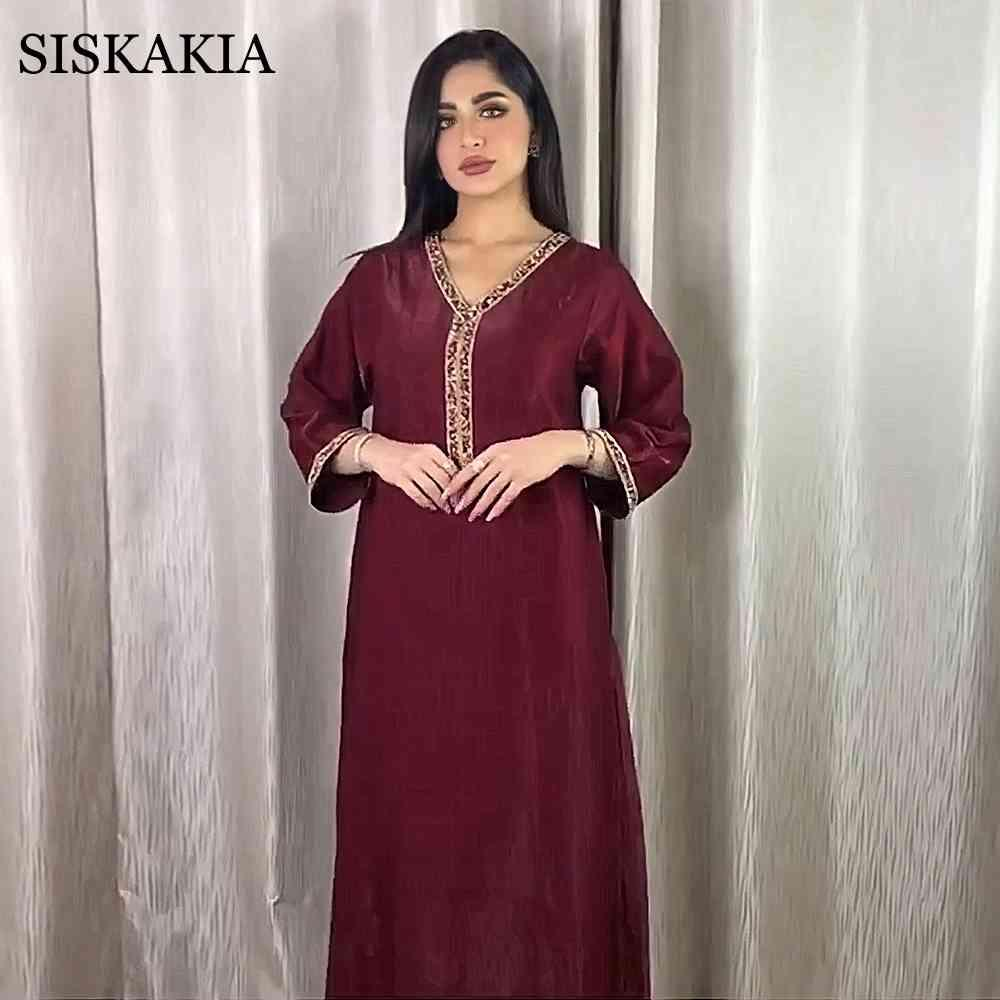 Siskakia Jalabiya Maxi à manches longues à manches longues pour les femmes automne Nouveau Dubaï Abaya Mode Diamond Ruban V Cou Musulman Robe arabe 210323