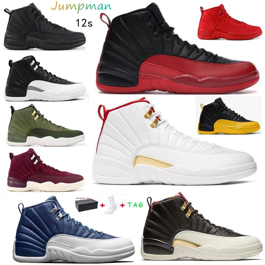 Jumpman 12 남성 농구 신발 대학 골드 레드 플린트 12S 반전 독감 게임 트위스트 블랙 로얄 망 스포츠 스니커즈 40-46