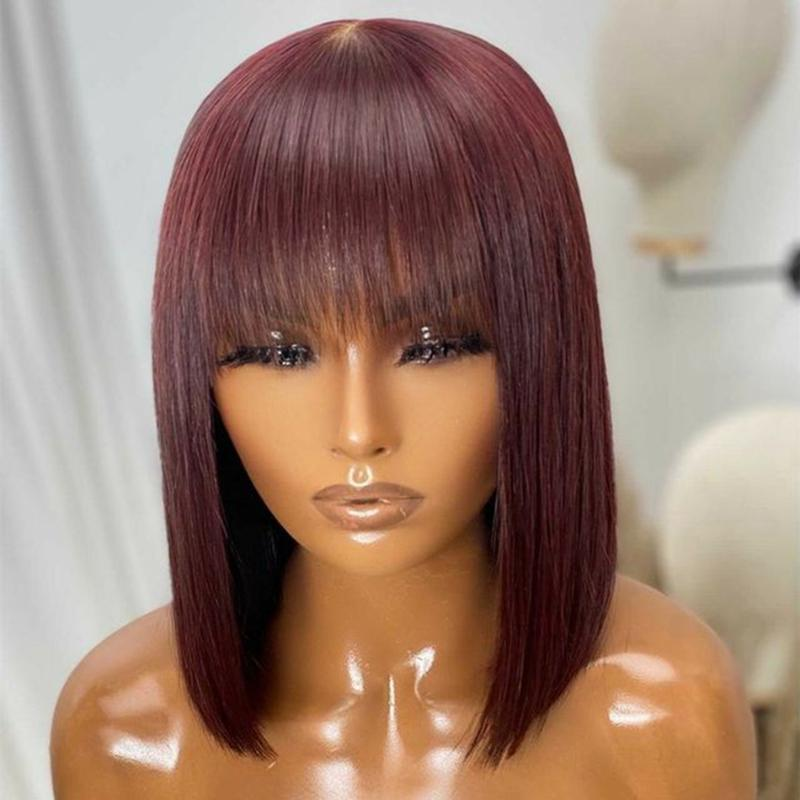Parrucche di pizzo Frangia Bob 99J frontale Borgogna per le donne nere Remy Human Hair 13x6 Straight Bang