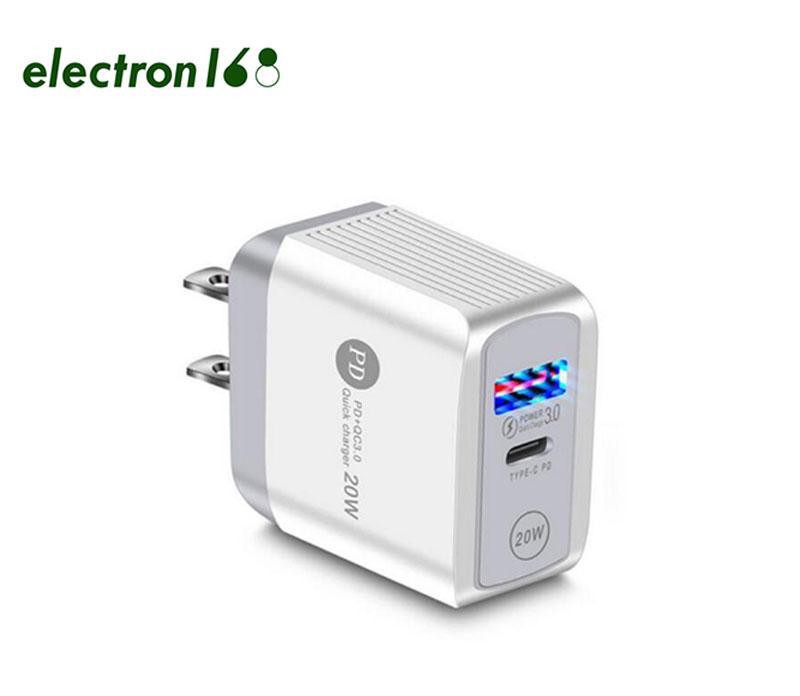 20W PD + QC3.0 USB C شاحن شحن سريع الجدار محول الطاقة الاتحاد الأوروبي الولايات المتحدة المكونات لنموذج العالمي بالجملة 100x