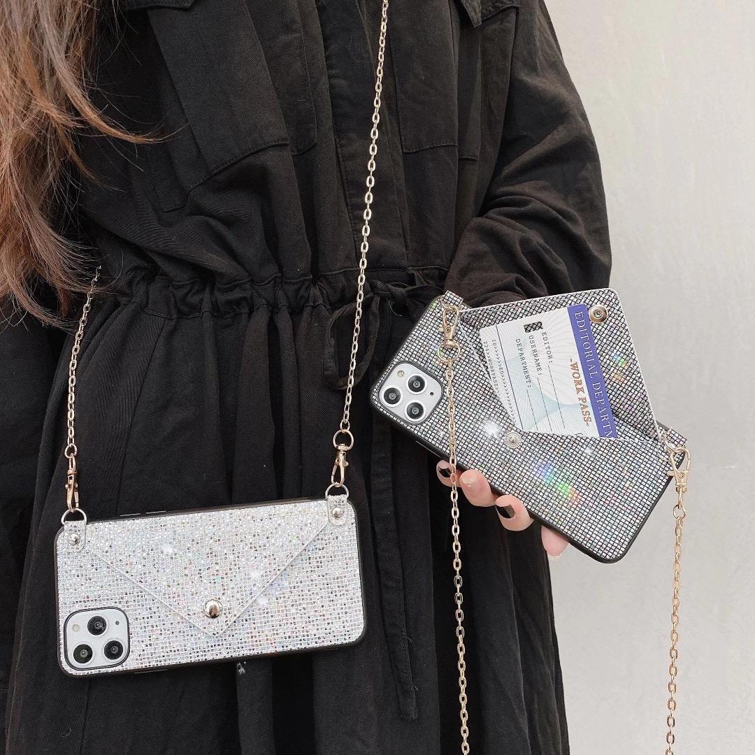 Çanta Rhinestone Telefon Kılıfları iphone 12 Mini 11 Pro Max XR X 8 Artı 7 Artı Huawei Mate40 NOVA 7 SE P40 Lüks Cüzdan Kapak