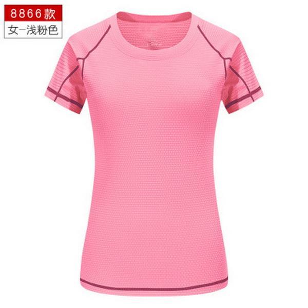 الوردي النسائية الرياضة تي شيرت الفانيلة كرة القدم قصيرة الأكمام قميص فضفاض العصرية تشغيل التجفيف السريع أعلى
