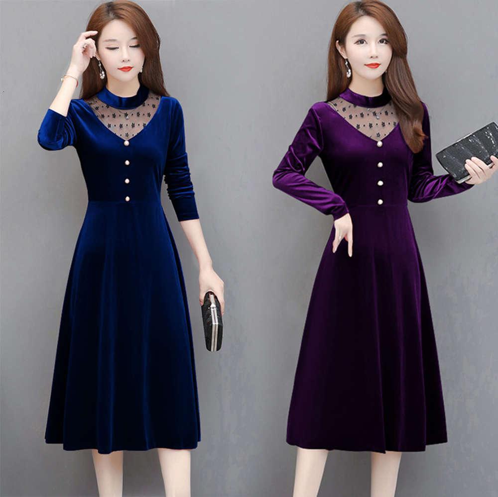 Женская сетка сращивания бархатного платья Осень и зима с длинным рукавом средняя длина a-линии юбка